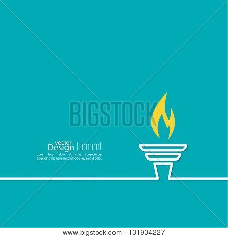 Vector icon of  torch with a flame. Blue background with bright torch. layout for booklet, flyer, cover, preview, announcement, report. Outline