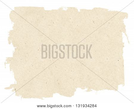 Light brown torn paper texture isolated on white background.