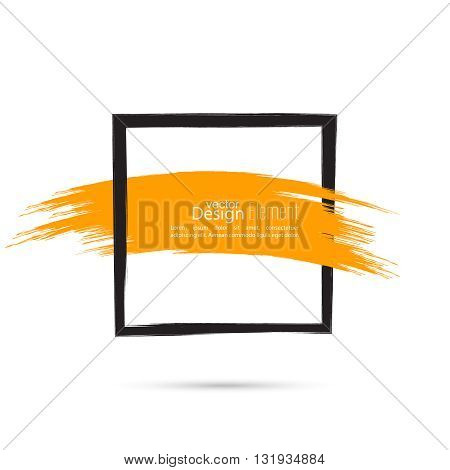 Abstract background with square banner and smear paint. Text box and frame with yellow smear. Vector hand drawn frame. Black square banner and  red smear. Frame template, layout