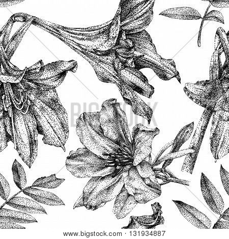 Seamless pattern with different flowers and plants drawn by hand with black ink. Graphic drawing pointillism technique. Can be used for pattern fills wallpapers web page surface textures
