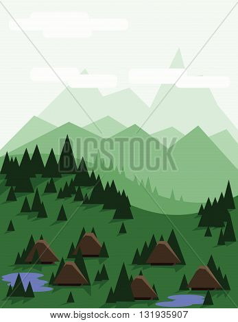 Abstract landscape with pine trees brown houses blue lakes green hills and mountains over a light green background with white clouds. Digital vector image.