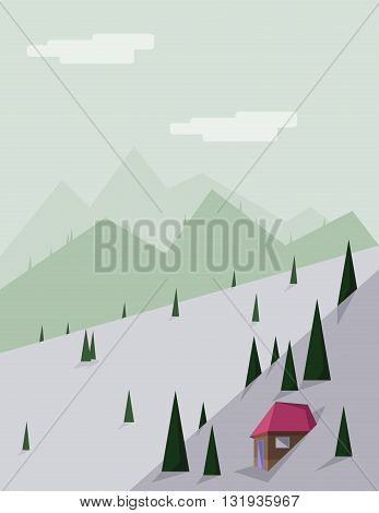 Abstract landscape with pine trees a brown house with red roof green hills and mountains over a light green background with white clouds. Digital vector image.