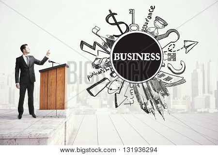 Young businessman giving public speech business concept
