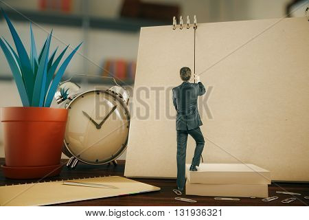businessman climbing a rope on a notebook 3D Rendering