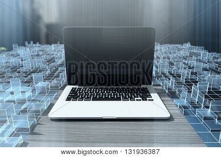 Cyberspace with blank laptop. Mock up 3D Rendering