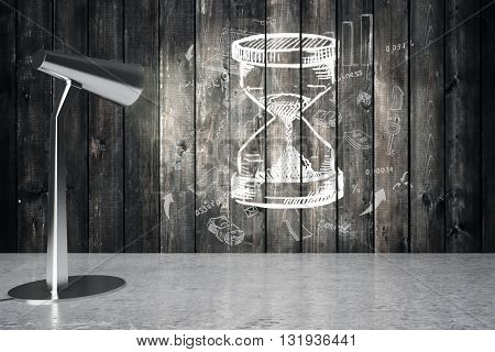 Lamp illuminating sketch hourglass on wooden wall. 3D Rendering