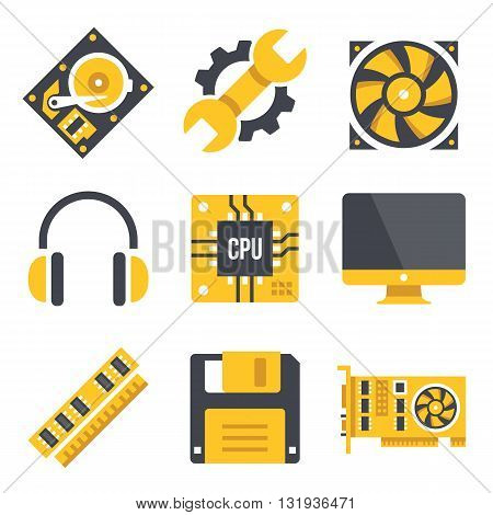 Vector computer hardware icons set. Black and yellow colors. Computer parts, technology, computer hardware concepts. Modern flat design graphic elements. Vector illustration