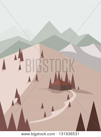 Abstract landscape in red style with pine trees a house with a road green hills and mountains over a light background. Digital vector image.
