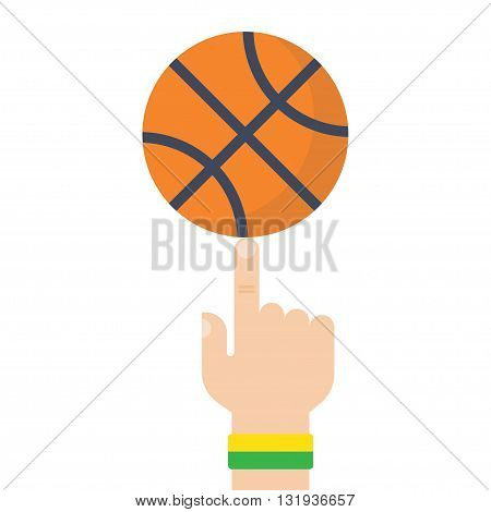 Athlete basketball player spinning the ball on his finger. Vector illustration flat design style. Sports concept. Basketball ball in hand
