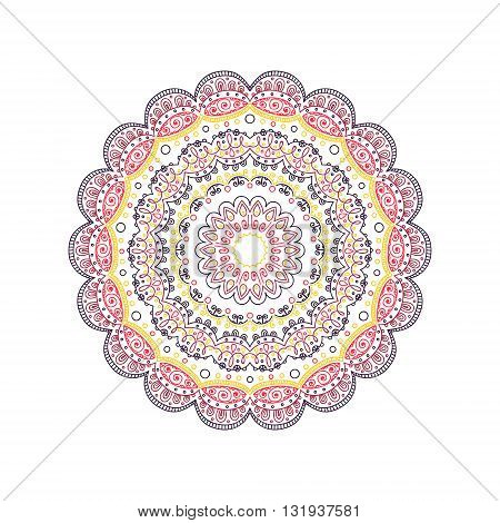 Vector hand drawn doodle mandala. Round ethnic ornaments. Yellow red brown and dark violet colors.