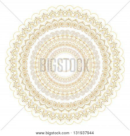 Vector hand drawn doodle mandala with ethnic ornament. Yellow golden grey and brown colors.