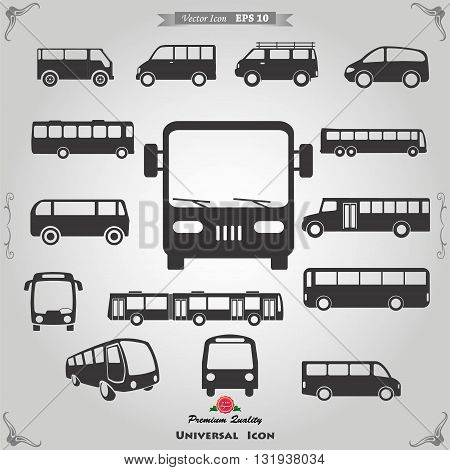 Bus icon set. All vector objects are isolated.