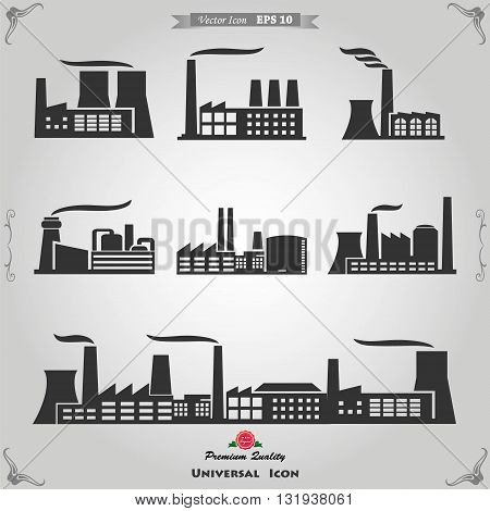 Industrial buildings nuclear plants and factories. Industrial building factory and power plants icon set.