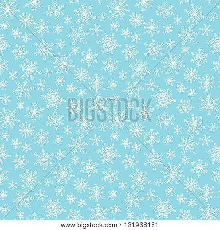 Seamless pattern with hand drawn doodle snowflake. Vector winter pattern. White snowflakes on blue background.