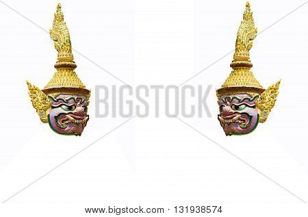Giant of thai temple on the white background