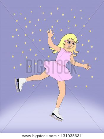A  girl in a pink dress, dancing with ice skates.