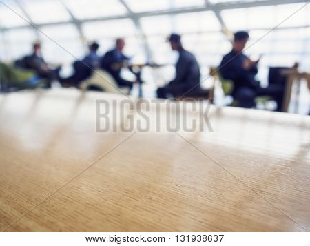 Table top Counter with Blurred People Restaurant Shop interior background