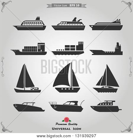 Ships transportation and shipping icons. Vector illustration