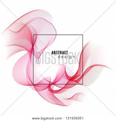Red Color smoke wave. Transparent wave. Abstract smooth wave vector. Vector Abstract lines.