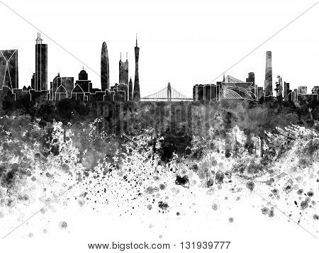 Guangzhou skyline in artistic abstract black watercolor