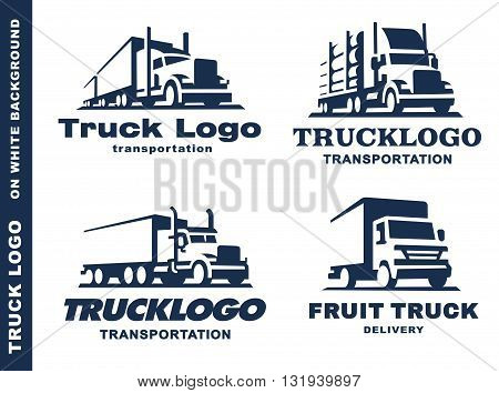 set of four logo with truck and trailer on white background.