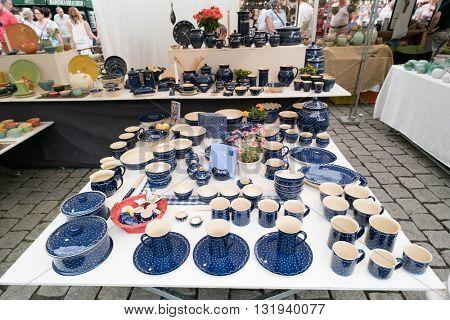 GERA, GERMANY - MAY, 29, 2016: Ceramics and pots market