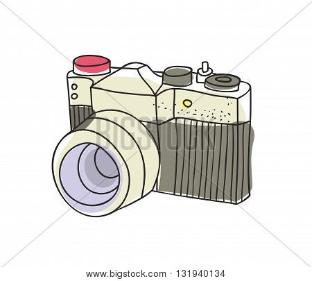 Hand drawn vintage camera. Colorful vector illustration in doodle style.
