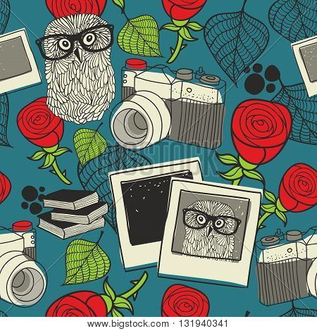 Seamless pattern with smart owl in glasses and retro photos.