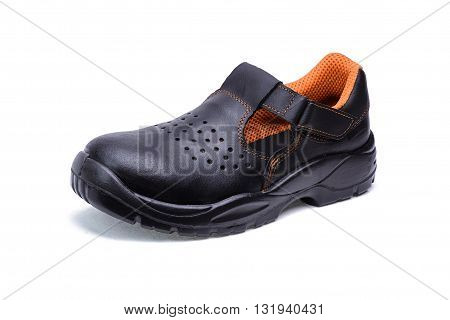 Shoe made of black leather for worker on white background