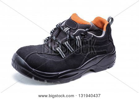 Suede shoes for safe operation on white background