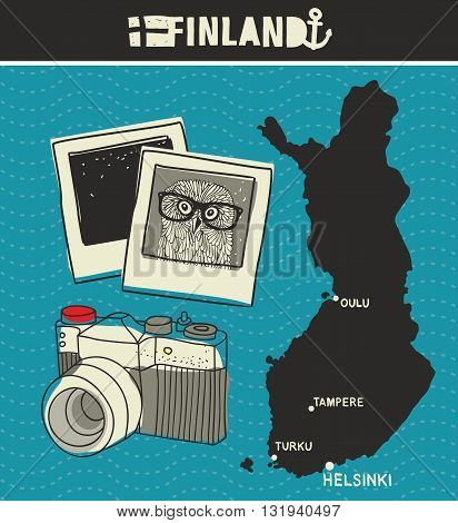 Map of Finland and retro photos. Vector illustration.