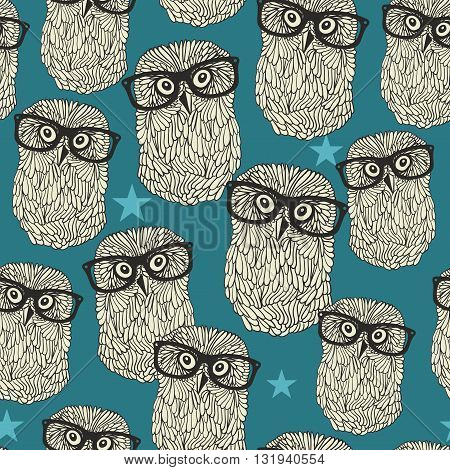 Cool hipster owl seamless pattern with stars. Vector cartoon background.
