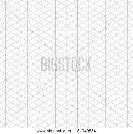 Gray isometric grid with vertical guideline on white seamless pattern