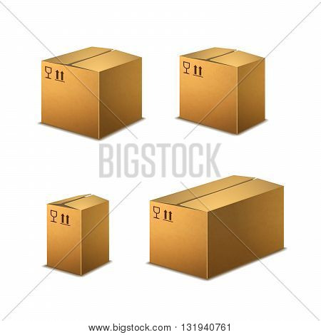 Set of realistic cardboard boxes with cargo signs isolated on white