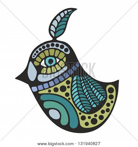 Cute decorative bird. Colorful illustration in vector.
