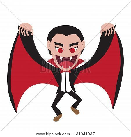 Dracula with wing cape in flat style vector cartoon