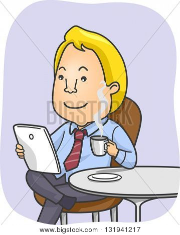 Illustration of a Man Reading the News on His Tablet While Drinking Coffee