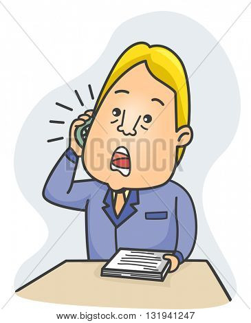 Illustration of a Literary Agent Talking Over the Phone