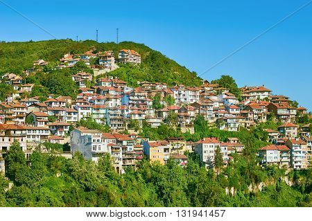 City District on a Hillside. Veliko Tarnovo Bulgaria