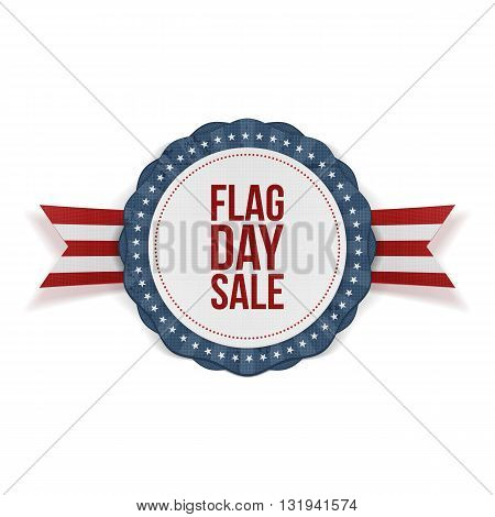 Flag Day Sale Emblem with Ribbon and Shadow. Vector Illustration