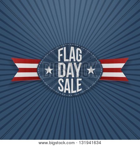 Flag Day Sale Label with Ribbon and Shadow. Vector Illustration