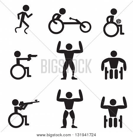Disable Handicap Sport icons runner bodybuilding shooting rugby and racing