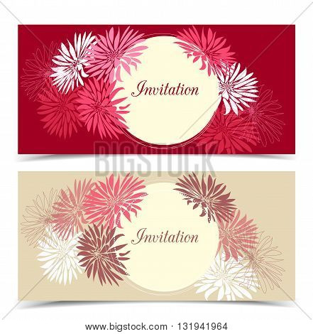 Two vector floral greeting card, floral color design