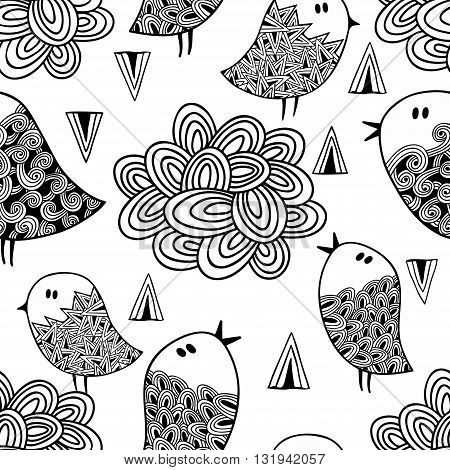 Black and white seamless pattern with birds and clouds. Vector illustration for coloring.