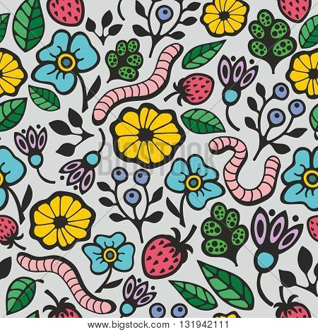 Colorful seamless background with flora and fauna in the garden. Vector pattern.