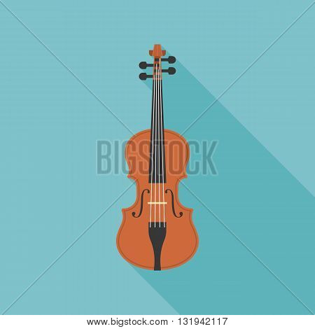 wooden violin, viola vector, flat design with long shadow