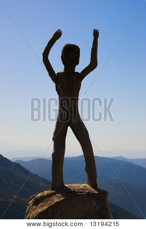 Homo sapiens sculpture in high mountains