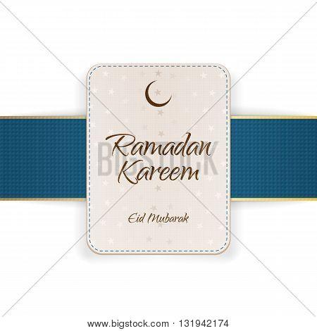 Ramadan Kareem Eid Mubarak Banner with Ribbon and Shadow. Vector Illustration