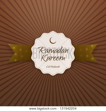 Ramadan Kareem Eid Mubarak Emblem with Ribbon and Shadow. Vector Illustration