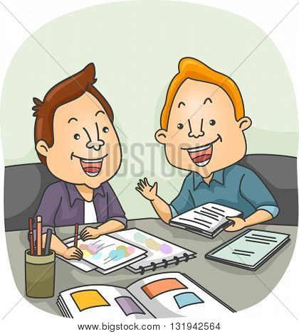 Illustration of an Artist and a Writer Having a Meeting